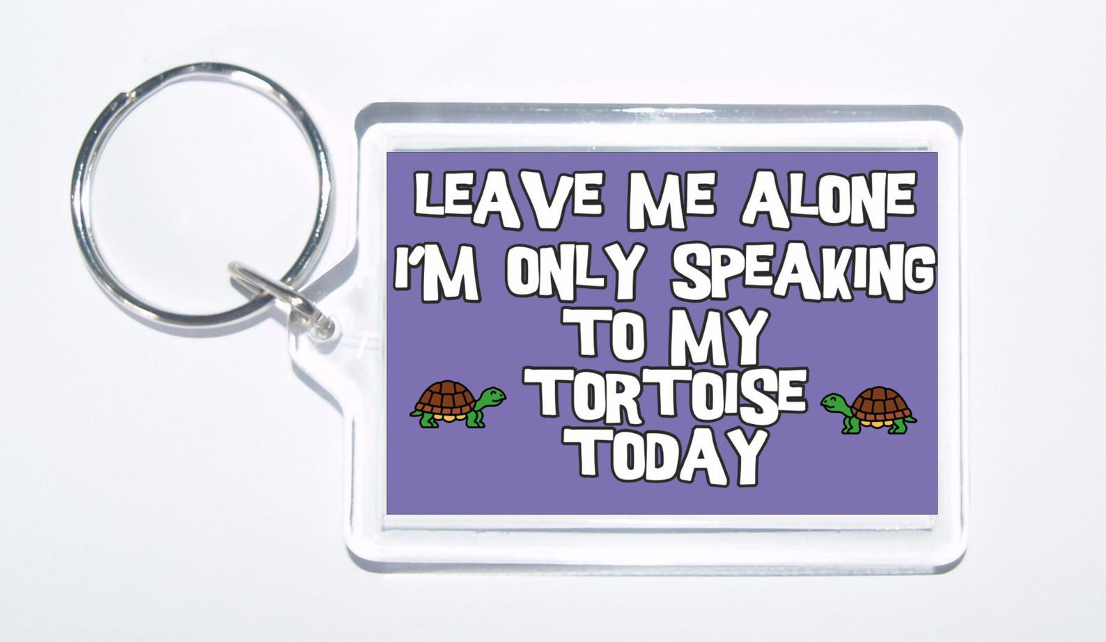 Tortoise slogan novelty keyring -