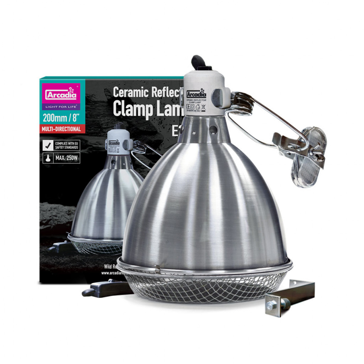 Arcadia Ceramic Reflector Clamp Lamp, 200mm